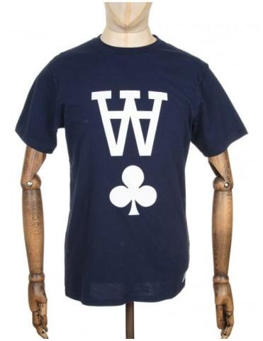 Wood Wood AA Logo T-shirt - Peacoat Blue