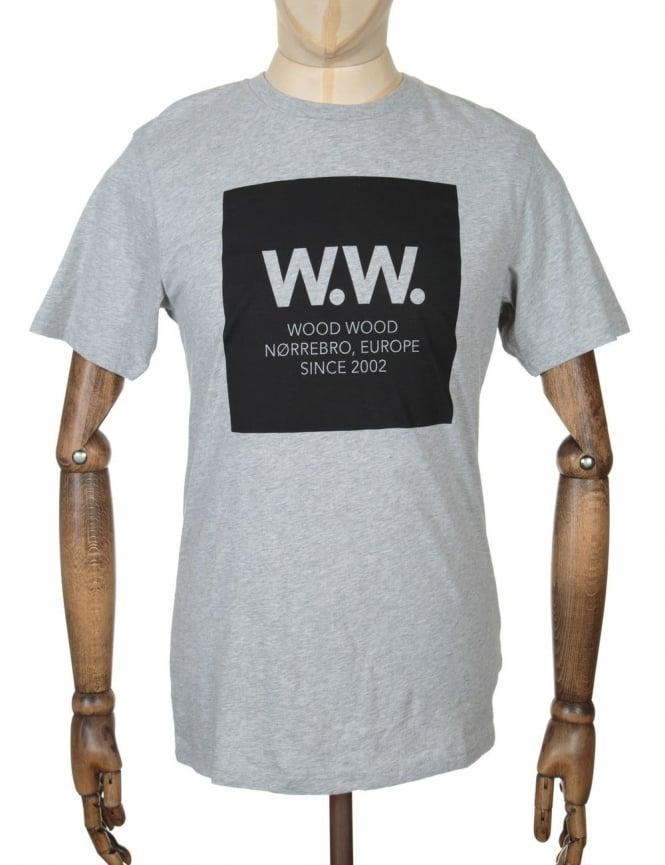 Wood Wood AA Square T-shirt - Heather Grey