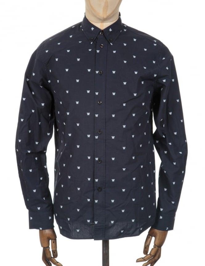 Wood Wood L/S Damien AA Print Shirt - Navy AA