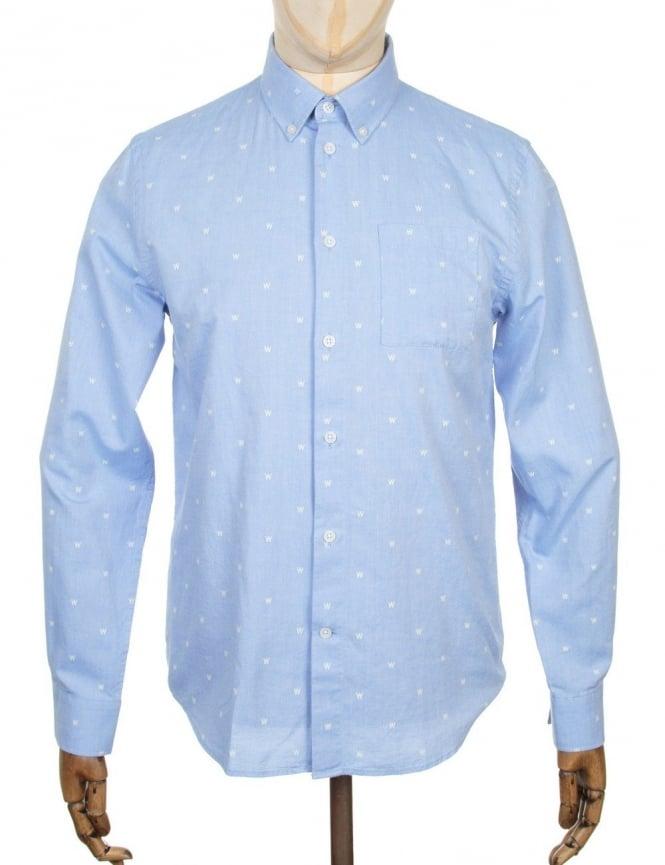 Wood Wood L/S Timothy Logo Shirt - AA Light Blue