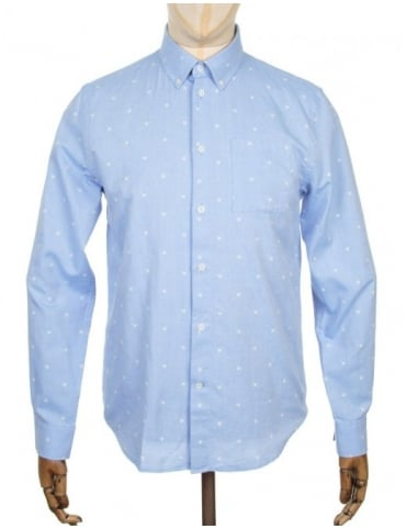 Wood Wood L/S Timothy Logo Shirt - AA Light Blue
