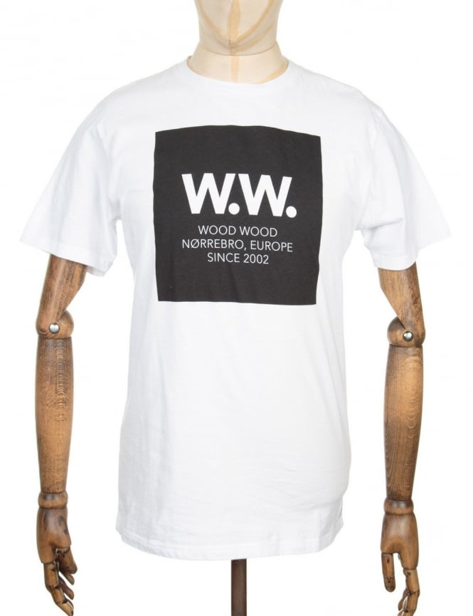 Wood Wood Square Logo T-shirt - White