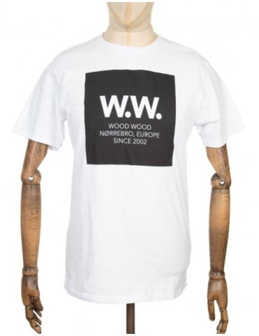 Wood Wood Square Logo T-shirt - White