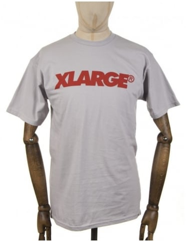 Slanted Logo T-shirt - Silver Grey